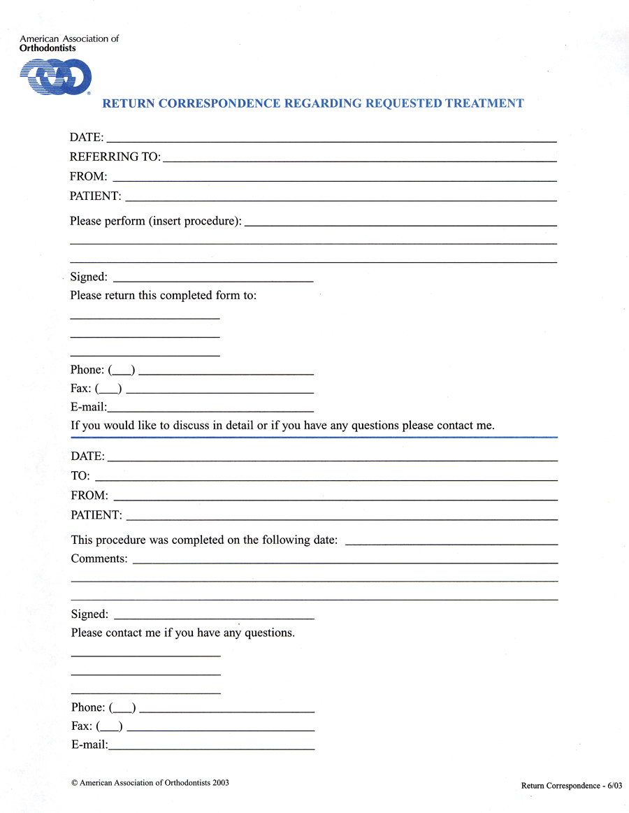 Return Correspondence Regarding Requested Treatment Form Pack Of 30